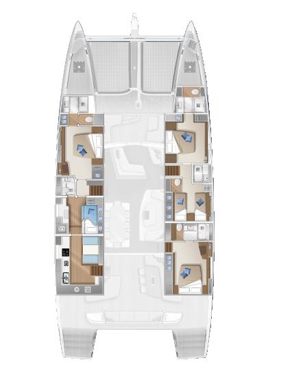Catamarano Lagoon Seventy 7 Pianta versione 4 Cabine